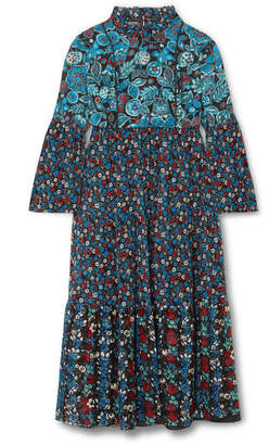 Anna Sui Fruits & Florals Ditsy Daze Printed Silk-chiffon Midi Dress - Blue