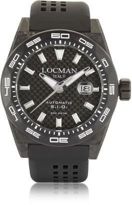 Locman Stealth 300 mt Automatic Black Carbon Fiber and Titanium Case w/ Silicone Strap Mens Watch