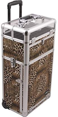 Sunrise Fuseri 2-In-1 Rolling Makeup Case Professional Nail Travel Organizer Box