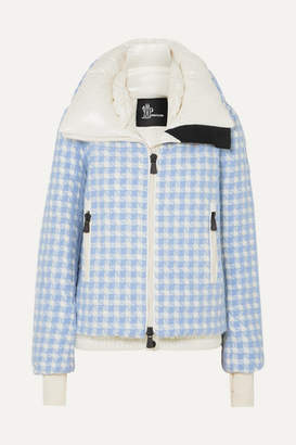 Moncler Mufule Checked Embroidered Quilted Glossed-shell Down Jacket