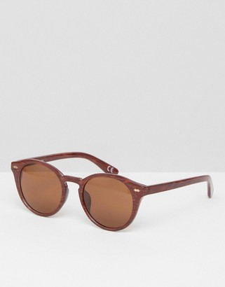 Round Sunglasses In Wood Effect