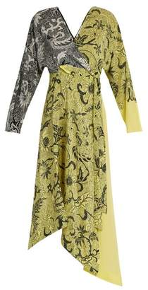 Diane von Furstenberg Bi Colour Silk Crepe De Chine Dress - Womens - Yellow Print