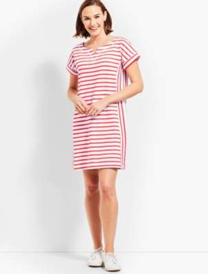 Talbots Stargazer Stripe T-Shirt Dress - Dark Nectarine