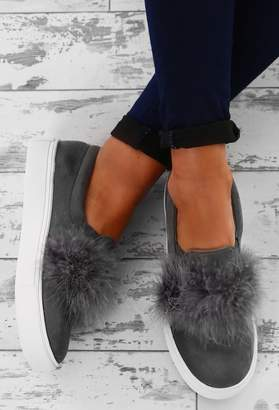 Pink Boutique Soul Love Grey Faux Suede Feather Slip On Shoes