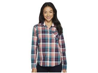 U.S. Polo Assn. Cotton Poplin Plaid Shirt Women's Long Sleeve Button Up