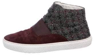 Chanel 2016 Tweed High-Top Sneakers