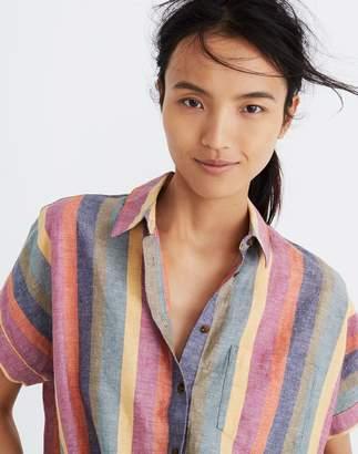 Madewell Short-Sleeve Tie-Front Shirt in Rainbow Stripe