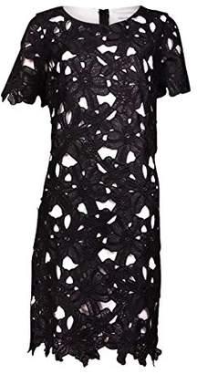 Calvin Klein Women's Petite Floral Lace Shift Dress with Short Sleeve