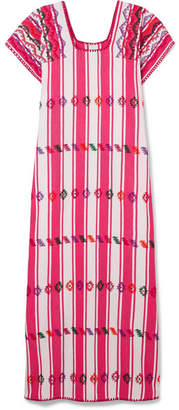 Pippa Holt - Embroidered Striped Cotton Kaftan - Pink