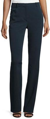 Thierry Mugler Flat-Front Flare-Leg Pants, Navy $840 thestylecure.com