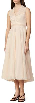 Sandro Cassy Mesh Lace Midi Dress