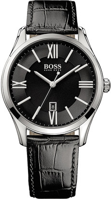 HUGO BOSS 1513022 ambassador watch with leather strap $158 thestylecure.com