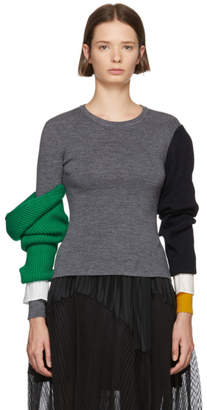 Enfold Grey Lara Arm Layered Sweater