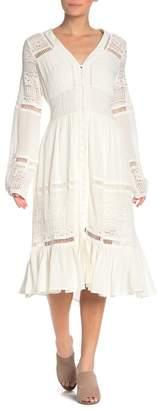 Dee Elly Long Sleeve Crochet Detail Dress