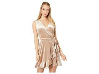 BB Dakota Power Slick Velvet Wrap Dress