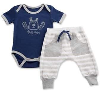 Size 0-6M Baby Bear 2-Piece Pajama Gift Set in White/Blue