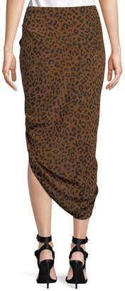 Diane von Furstenberg Ruched Leopard-Print Silk Pencil Skirt