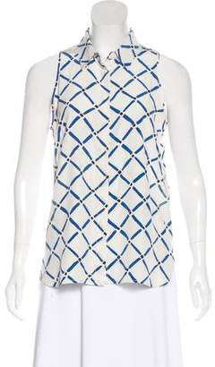 Tibi Silk Patterned Button-Up Blouse