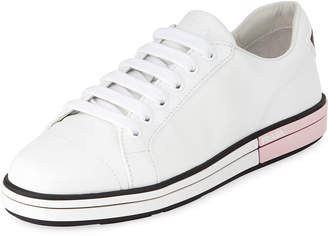 Prada Leather Low-Top Sneakers with Two-Tone Heel