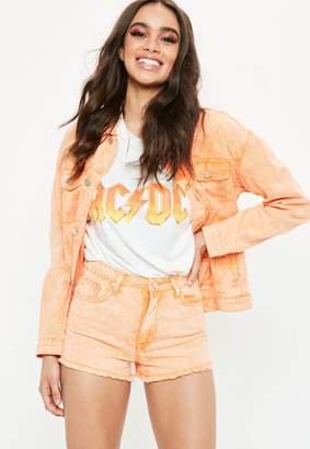 Missguided Orange Washed Denim Jacket
