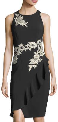 JAX Embroidered Ruffled Sheath Dress $119 thestylecure.com
