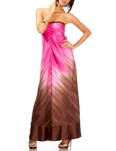 Two-Tone Ombre Strapless Maxi Dress