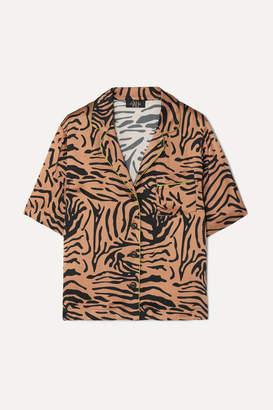 De La Vali Kid Piped Tiger-print Satin Shirt - Light brown