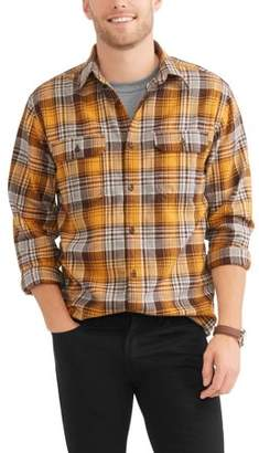 George Men's and Big & Tall Long Sleeve Flannel Shirt, up to size 3XLT
