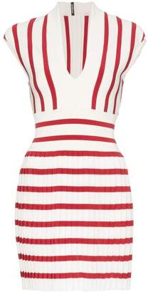 Balmain Striped Pleated Mini-Dress