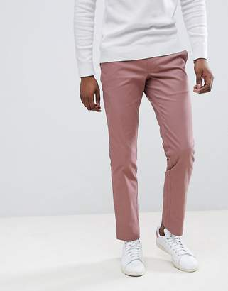 Moss Bros Stretch Skinny Chino In Pink