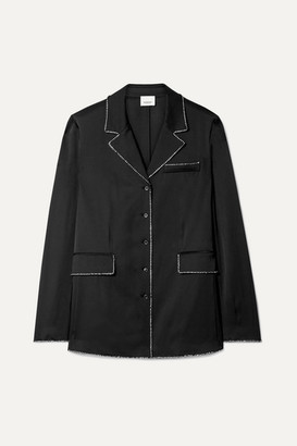 Burberry Crystal-embellished Mulberry Silk-satin Shirt - Black