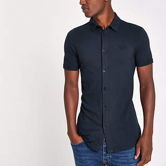 River Island Mens Navy muscle fit button through polo shirt