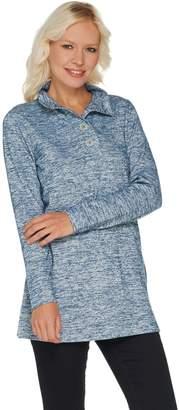 Denim & Co. Petite Space Dye Heavenly Jersey Henley Tunic