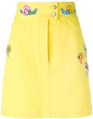 Olympia Le-Tan beaded patch fitted skirt