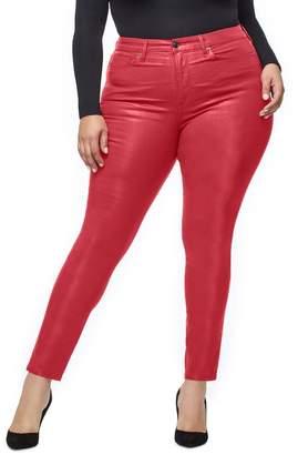 Good American Good Waist Coated High Waist Skinny Jeans (Red 001) (Regular & Plus Size)