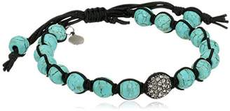 Tai Turquoise-Color Ball with Aqua Pave Swarovski Crystal Ball Bracelet