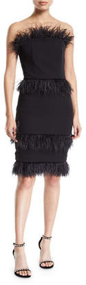 Elliatt Coco Strapless Crepe Cocktail Dress w/ Feather Trim