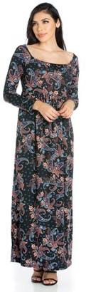 24/7 Comfort Apparel 24seven Comfort Apparel Paisley Empire Waist Long Sleeve Maxi Dress