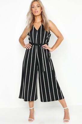 boohoo Plus Stripe Culotte Belted Jumpsuit