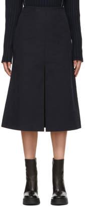 Sara Lanzi Navy Twill Slit Skirt