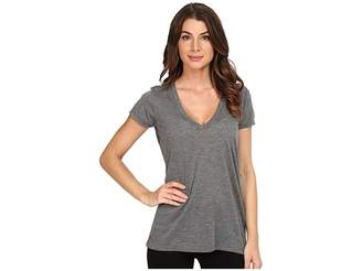 Alternative Melange Burnout Jersey Slinky V-Neck