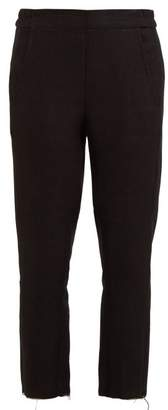 Ann Demeulemeester Raw Hem Linen Blend Trousers - Womens - Black