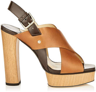 Jimmy Choo AIX/PF 125 Cuoio Mix Vachetta Leather and Patent Strap Sandal