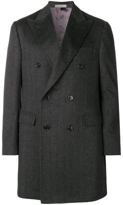 Corneliani notched collar overcoat