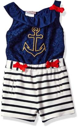 Little Lass Baby Girls' 1 Pc Lurex Anchor Romper