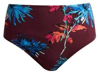 Diane von Furstenberg Floral High Waisted Bikini Bottoms - Womens - Burgundy Multi