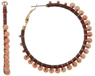 Rebecca Minkoff Thread Wrapped Beaded 50mm Hoop Earrings