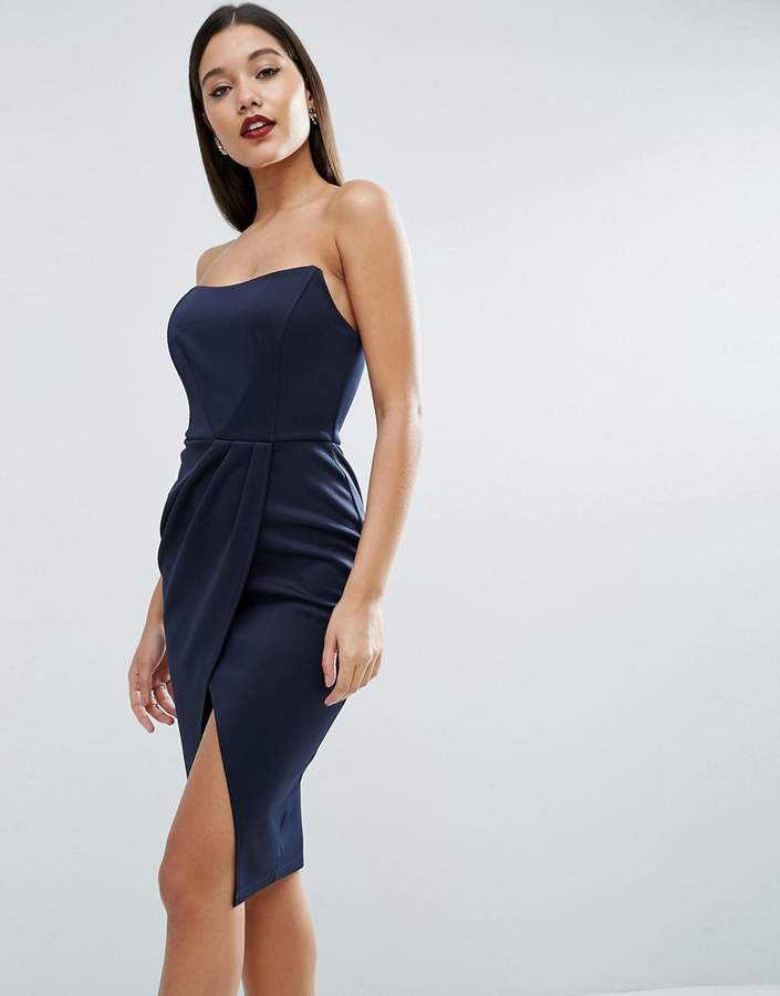 Asos ASOS Vamp Bandeau Midi Bodycon Dress