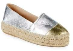 Metallic Leather Flatform Espadrilles