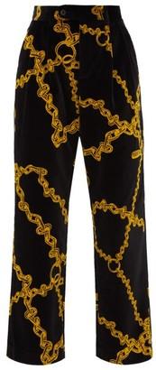 Aries Wide Leg Chain Print Velvet Trousers - Womens - Black Multi